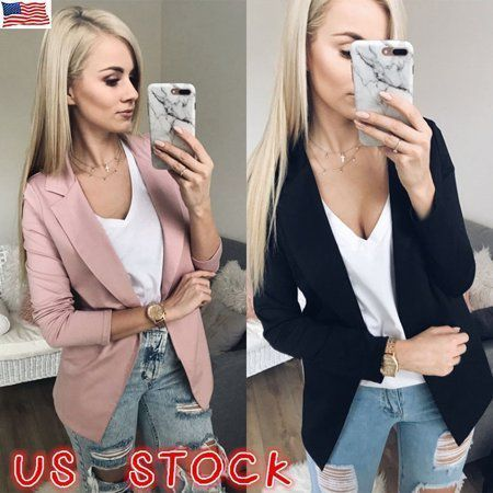 Women Slim OL Suit Casual Blazer Jacket Coat Outwear Ladies Long Sleeve Cardigan