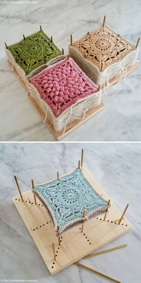 What is Crochet Blocking? - Article on Crochetpedia - Blocking is a technique of stabilizing pieces of crochet, applied with the aim of granting them a d - Crochet Square Patterns, Crochet Motifs, Crochet Blocks, Crochet Squares, Knit Or Crochet, Crochet Granny, Crochet Stitches, Afghan Patterns, Granny Squares
