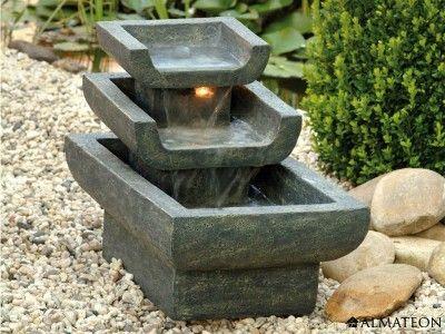 Fontaine Style Asiatique En Polyresine Avec Eclairage Halogene