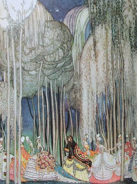 The 12 dancing Princesses -Kay Nielsen Kay Nielsen, Art Nouveau, Art Deco, Art And Illustration, Botanical Illustration, Inspiration Art, Art Inspo, 12 Dancing Princesses, Classic Fairy Tales