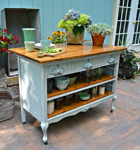 Dishfunctional Designs: upcycled Dresser Kitchen Island, Kitchen Ikea, Kitchen Island Bar, Farmhouse Kitchen Island, Kitchen Furniture, Kitchen Drawers, Rustic Kitchen, Farmhouse Style, Funky Kitchen