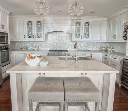 Mother Of Pearl Backsplash With Calcatta Quartz Counter Kitchen Cabinet Remodel Mother Of Pearl Backsplash Pearl Backsplash