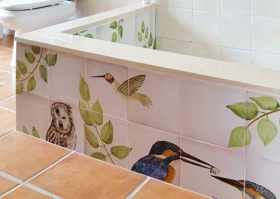 Mural Ceramico De Pajaros Para Ducha Murales Azulejos Pintados