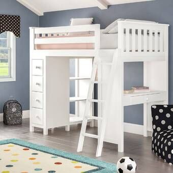 Ayres Twin Loft Bed With Drawers And Shelves Twin Loft Bed Loft Bed Frame Bed With Drawers