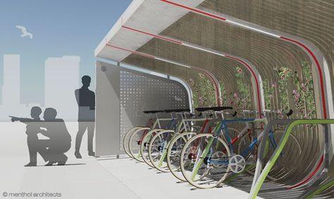 parking rowerowy przykładowe aranżacje zieleni