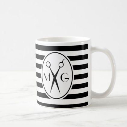 Shop Scissor Monogram Initials Hair Stylist Barber Shop Coffee Mug created by cutencomfy.