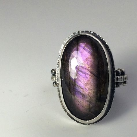 Turquoise Jewelry Ring Purple labradorite cabochon hand fabricated by Sara Westermark. Custom order with medieval style band.