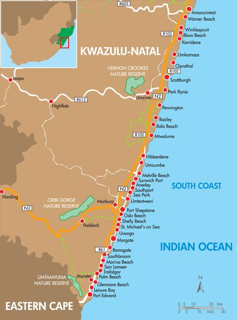 Map Of Towns Along The Kwazulu Natal South Coast Up To The Port Edward The Eastern Cape S Border South Africa Travel Trip Planning Kwazulu Natal