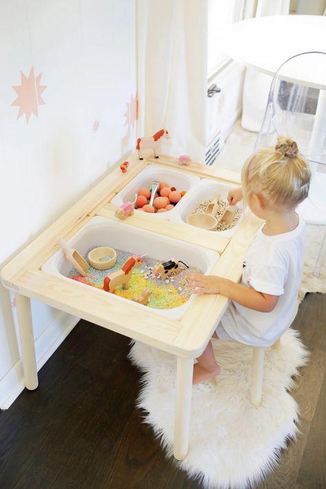 Easy Sensory Bin Table Setup for Kids! - A Beautiful Mess Easy Sensory Bin Table Setup for Kids! - A Beautiful Mess Sensory Table, Sensory Bins, Sensory Play, Montessori Playroom, Ikea Kids Playroom, Modern Playroom, Toddler Playroom, Playroom Design, Kid Table