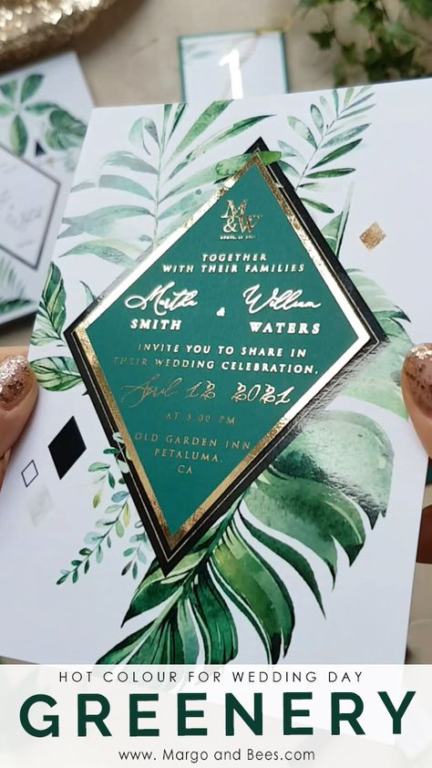 Green and gold wedding theme - perfect for #rusticglam wedding!  #greenerywedding #weddingideas #wedddinginvitatinon