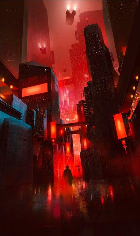 48 ideas concept art future city blade runner for 2019 Cyberpunk City, Ville Cyberpunk, Cyberpunk Kunst, Cyberpunk Aesthetic, Futuristic City, City Aesthetic, Cyberpunk 2077, Fantasy Landscape, Fantasy Art
