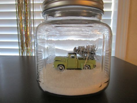 mini truck with tree in jar with salt as snow