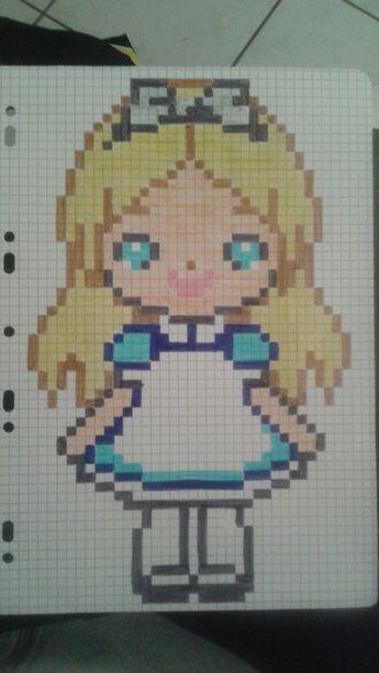 Pixel Art Alice Au Pays Des Merveilles Dessin Pixel