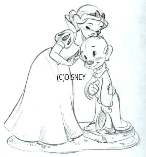 Classic Snow White and Dopey ornament - This is Steve's sketch for the 2013 ornament
