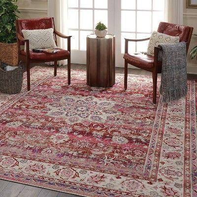 Nourison Vintage Kashan Vka01 Burgundy Ivory Blue Indoor Area Rug 7 10 X 9 10 Rugs Traditional Rugs Vintage