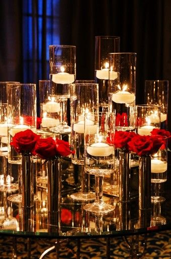 Fabulously Romantic Red Rose Floating Wedding Candle Holders