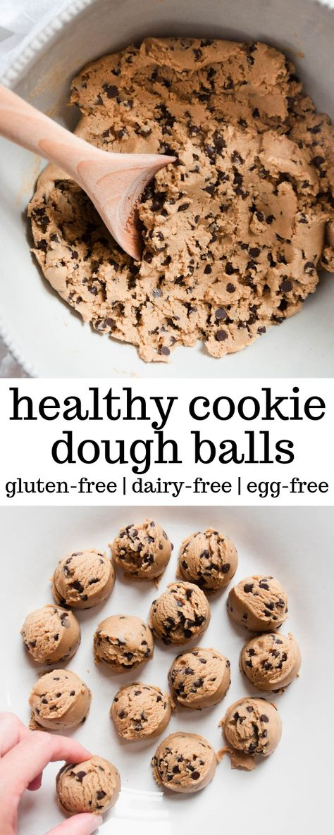These Healthy Cookie Dough Balls are a healthy snack and take minutes to make. T… These Healthy Cookie Dough Balls are a healthy snack and take minutes to make. They are filled with nut butter, sweetened with honey, and only five ingredients total. Healthy Sweet Snacks, Healthy Cookies, Healthy Dessert Recipes, Easy Snacks, Healthy Baking, Yummy Snacks, Healthy Desserts, Yummy Food, Eating Healthy