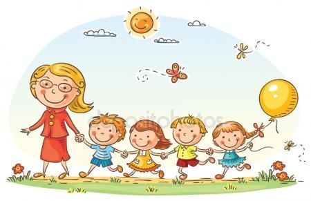 Dibujos Animados De Los Ninos Y Su Maestra Al Aire Libre Dagis For Barn Barn