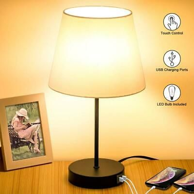 Ad Ebay Url Touch Control Table Lamp 2 Usb Charging Ports 3 Way Dimmable Bedside White Touch Lamp Bedside Night Stands Table Lamp