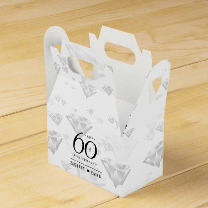 Elegant 60th Diamond Wedding Anniversary Favor Box Confetti Wedding Marriage Party Gif Anniversary Favors Wedding Anniversary Favors Anniversary Party Favors