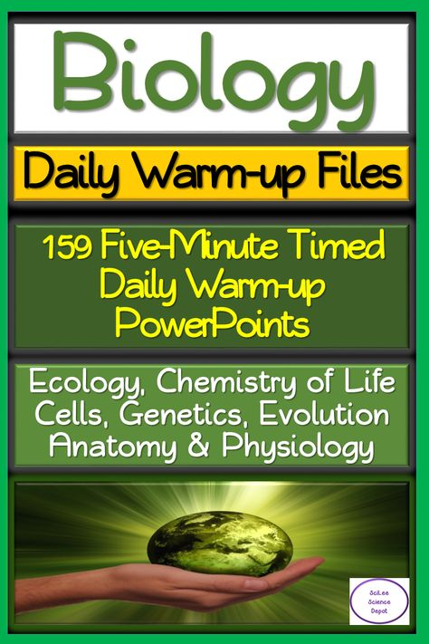 Biology: 159 Five-minute Timed Daily Warm-up PowerPoints