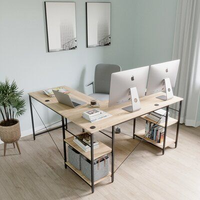 Home Office Desks, Home Office Setup, L Shaped Desk, Decor, Home, Home Office Decor, Cozy House, Cozy Home Office, Office Interiors