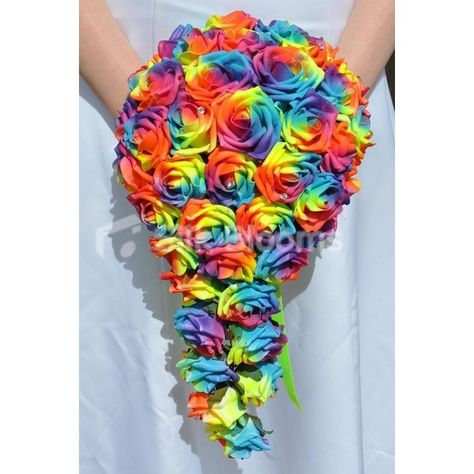 Vibrant Artificial Neon Rainbow Rose Cascade Wedding Bridal Bouquet ❤ liked on Polyvore featuring home, home decor, floral decor, artificial bouquets, rose bouquet, fake bouquet and neon home decor