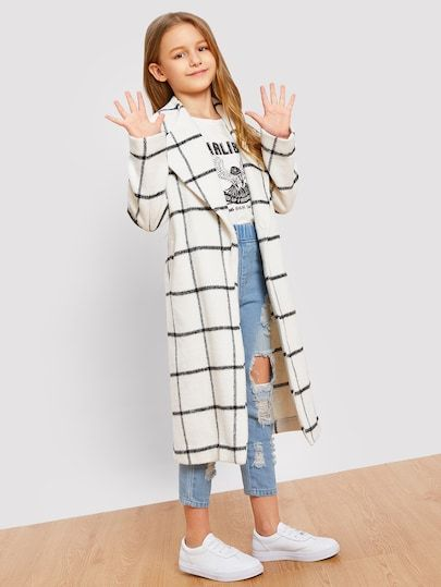 Product name: Girls Single Button Grid Print Longline Coat at SHEIN, Category: Girls Jackets & Coats