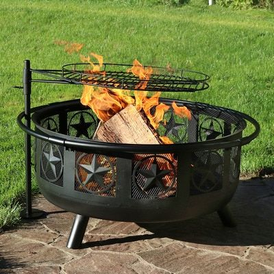 Sunnydaze 30 Inch Black All Star Fire Pit With Cooking Grate And Spark Screen Fire Pit With Cooking Grate Fire Pit Fire Pit Grill