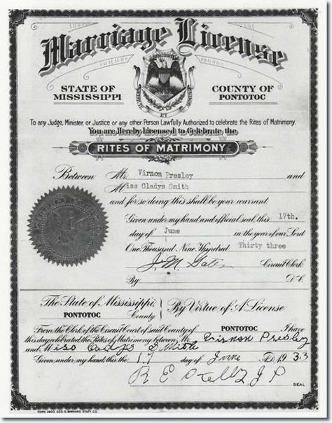 marriage license for elvis presley's parents. a george vreeland hill