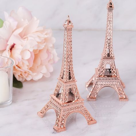 Paris Room Decor, Rose Gold Room Decor, Rose Gold Rooms, Rose Gold Theme, Paris Rooms, Eiffel Tower Cake, Eiffel Tower Centerpiece, Centerpiece Decorations, Eiffel Tower Decor
