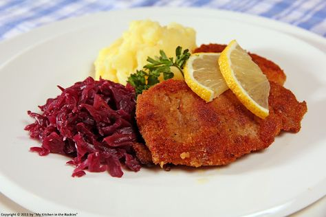 Schnitzel - my husband made Schnitzel with German red cabbage just this week - he has the recipe in his head but I want one for my Food Board.