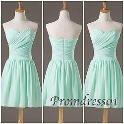 #promdress01 prom dresses - cute sweetheart strapless green chiffon short prom dress, bridesmaid dress #coniefox #2016prom