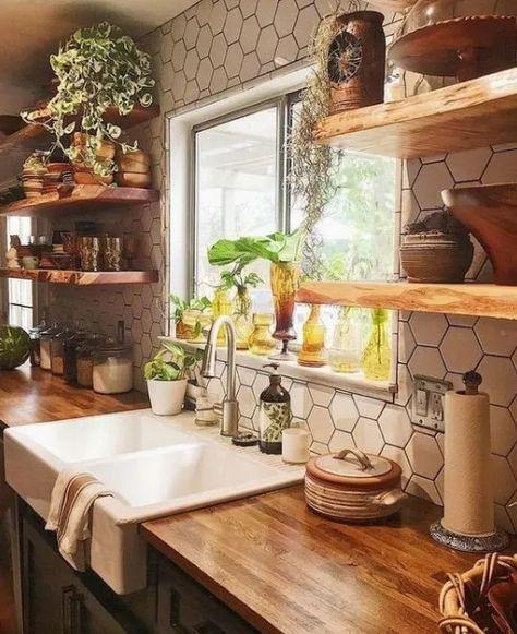Farmhouse Style Kitchen, Modern Farmhouse Kitchens, Home Kitchens, Rustic Farmhouse, Farmhouse Ideas, Small Kitchens, Kitchen Modern, Farmhouse Sinks, Eclectic Kitchen