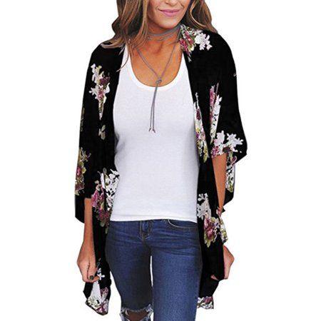 Women Floral Loose Kimono Cardigan Boho Sun Block Coat Jacket Blouse Thin Top