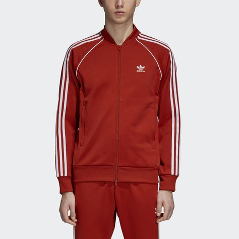 Details about Adidas 3 Stripes Superstar Leather Jacket Bomber Faux Track Top Red