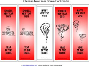 Free printable Chinese New Year 2013 Year of the Snake bookmarks