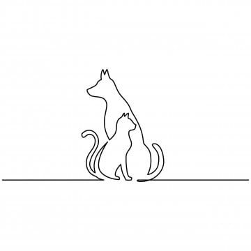 Continuous Line Drawing Of Dog And Cat Logo Black And White Vector Illustration Vector Cat Animal Dog Png And Vector With Transparent Background For Free Dow Dog Line Drawing Continuous Line