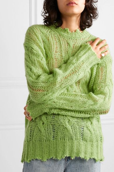 Lime green Kelenal frayed cable knit sweater | Acne Studios