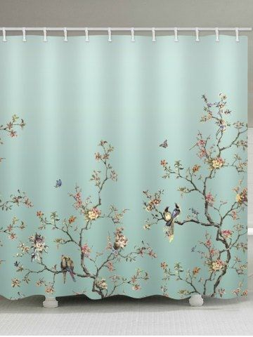Birds Tree Branch Flower Print 15 70 Shower Curtain Bird