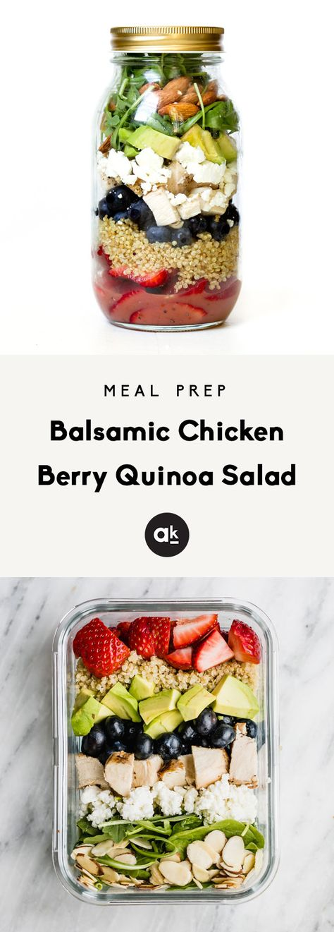 Flavorful Balsamic Chicken Berry Quinoa Salad with a sweet & tangy raspberry vinaigrette! This healthy meal prep salad is protein-packed with fresh berries, creamy goat cheese, and crunchy almonds in every bite. Add all of the ingredients to a mason jar or meal prep container, and toss it together in a bowl for the ultimate lunch! #lunchrecipes #mealprepping #mealprepidea #lunchrecipe #healthylunch #masonjarsalad #chickensalad #quinoarecipe #quinoasalad