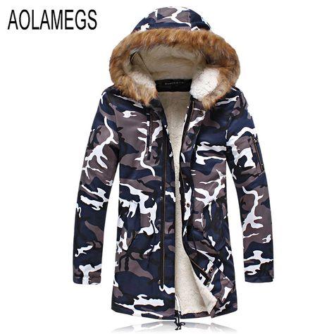 Aolamegs Winter Jacke Männer Military Camouflage Mit Kapuze