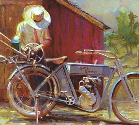 triumph motorbikes vintage old antique A1 size  poster art  painting