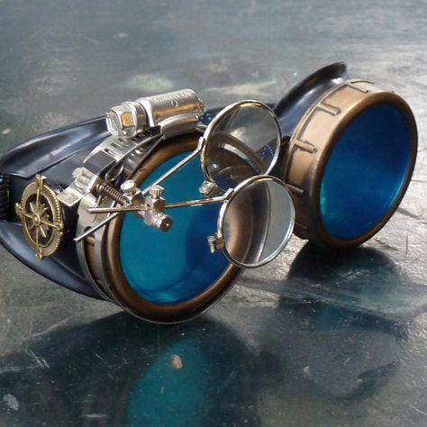 Victorian Steampunk goggles aviator victorian welding biker eye cup--gcg