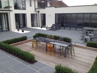 Awesome Sunken Timber Decking Area Within Black Limestone Patio. | Outdoors |  Pinterest | Limestone Patio, Decking And Patio