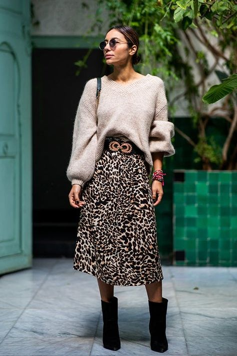 The 6 Best Winter Outfit Formulas t - PUFF-SLEEVE SWEATER + LEOPARD PRINT MIDI SKIRT + ANKLE BOOTS  Our most-loved sweater of the season meets our favorite print ever.
