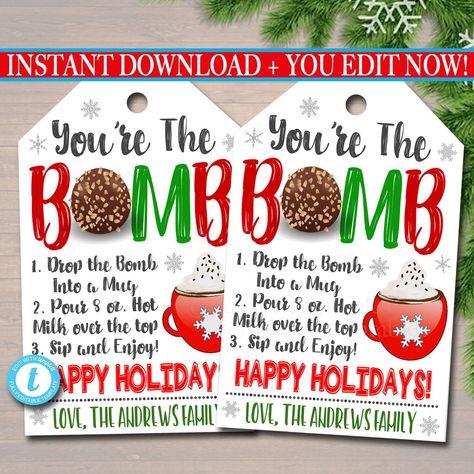Christmas Gift Tag, You're the bomb, hot chocolate cocoa Teacher Staff, Holiday Appreciation Secret Santa, White Elephant, Editable Template