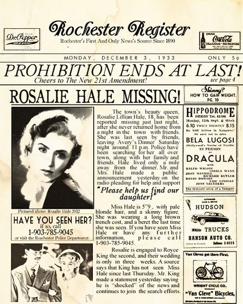 """anthony-masen: """" The Cullens In the News- Rosalie Hale 1933 """""""