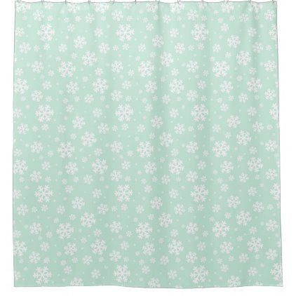 Mint Green Chunky Winter Snowflakes Shower Curtain Zazzle Com In
