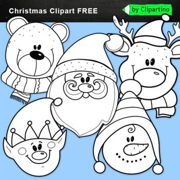 Winter Christmas Faces Bw Free Christmas Clipart Free Reindeer Face Clip Art Freebies